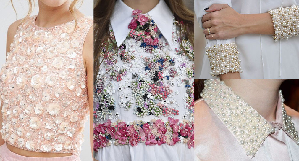 fashion inspiration pinterest reference embellished top sequinned top pearl collars
