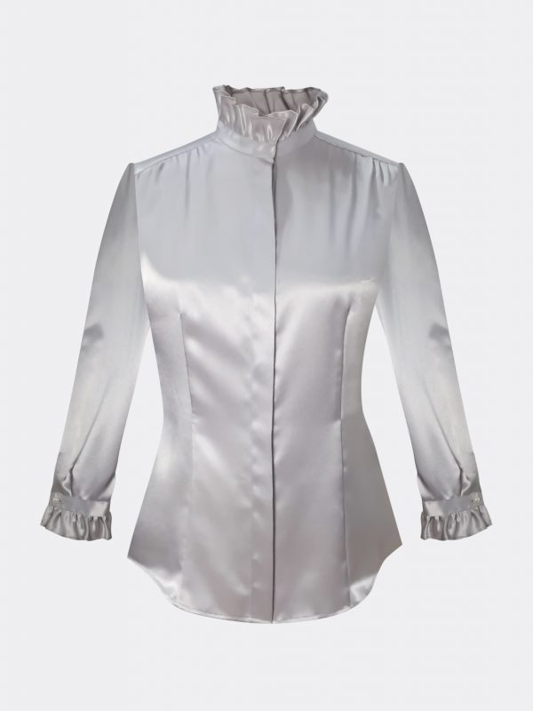 beauty-advisor-blouse-uniforms-for-cosmetic-and-luxury-ruffle-collar-blouse-uniform-supplier-singpapore-satin-blouse-elegant-blouse-estee-lauder-uniform