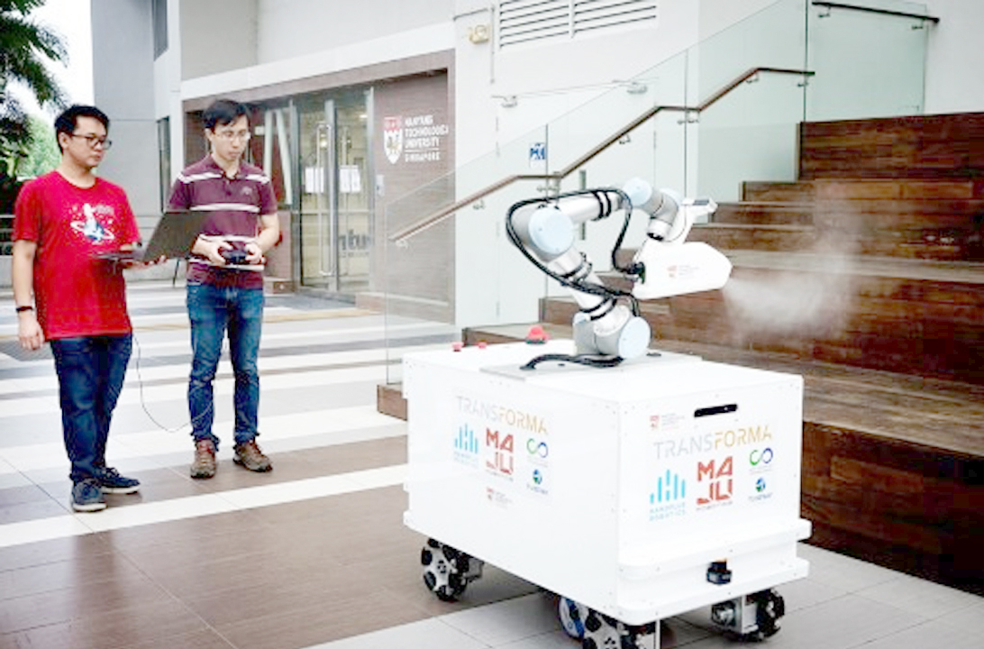 anti covid 19 disinfection Nanyang Technological University disinfection robot singapore disinfection technology copy