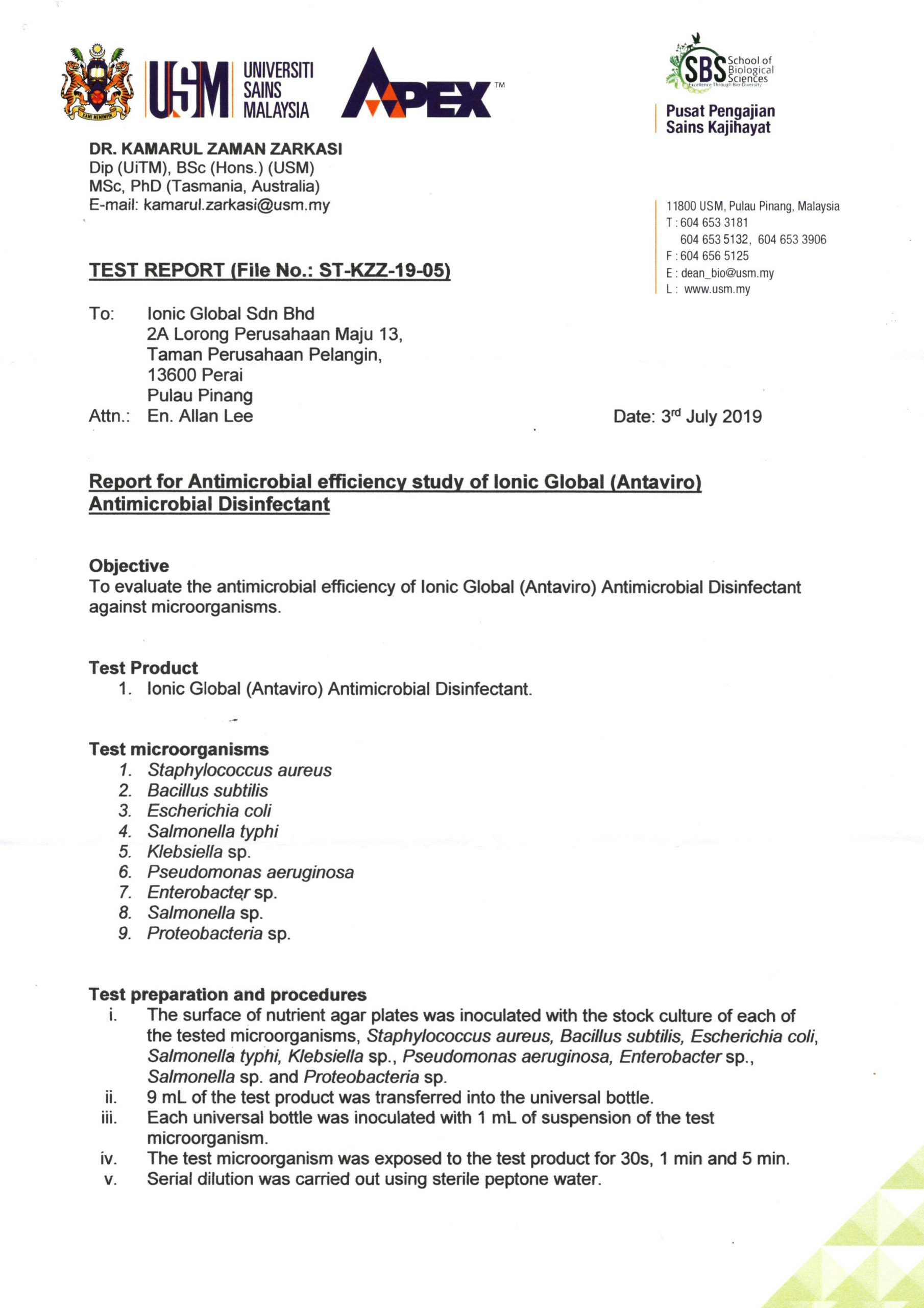USM Test Report Antimicrobial