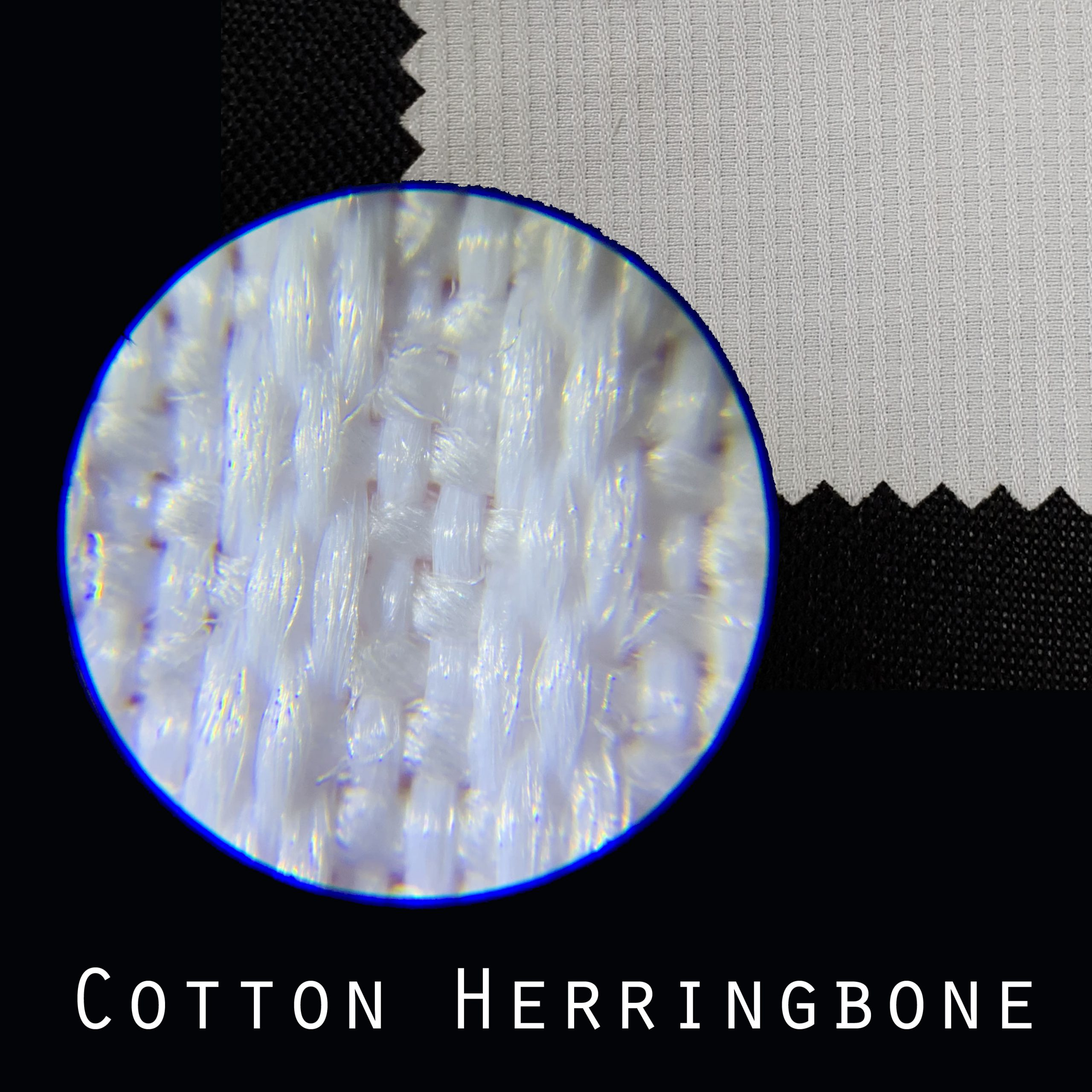 x50 magnify fabric surface cotton herringbone
