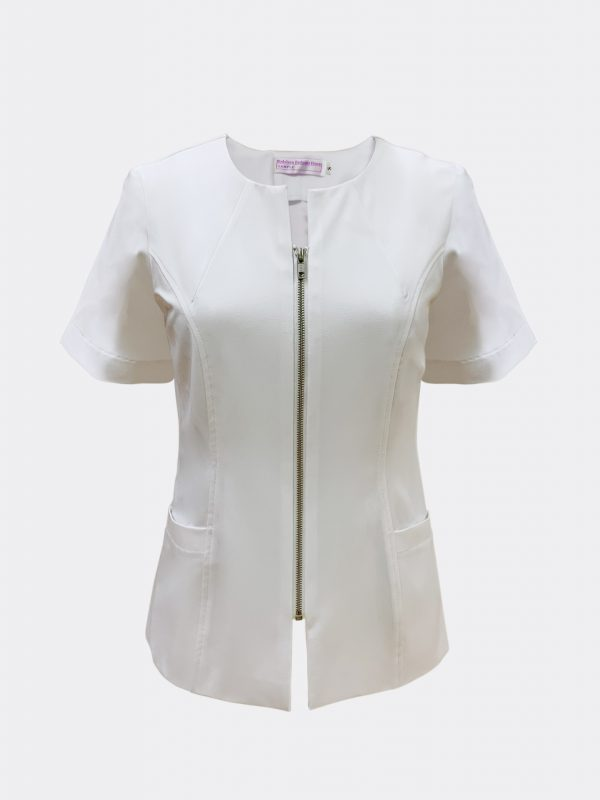 Beauty consultant blouse with silver teeth zipper