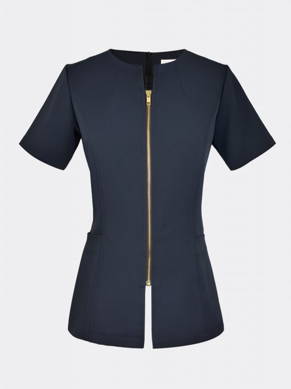 Modern ladies top fashion zipper blouse navy